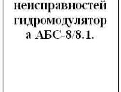 Коды неисправностей гидромодулятора АБС-8/8.1