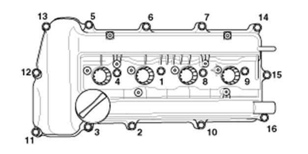 Порядок затяжки болток крышки ГБЦ двигатель G4FA G4FC